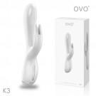 德國OVO-K3 寶妮小兔 5段變頻 多功能 雙叉 震動按摩棒-白色