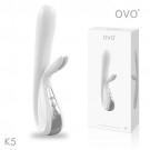 德國OVO-K5 小兔寶 5段變頻 多功能 雙叉 震動按摩棒-白色