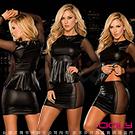 虐戀精品CICILY-危險曲線 兩件式 塗膠漆皮彈力緊身裙-黑
