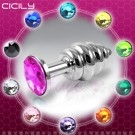 CICILY-松果造型 金屬寶石後庭塞(粉寶石)