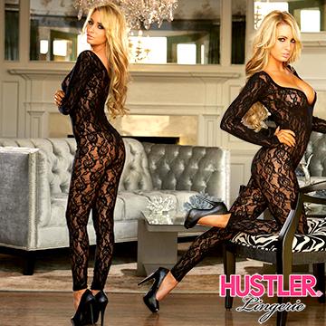 美國Hustler 叛逆小野貓 長袖一件式 性感刺繡蕾絲貓裝