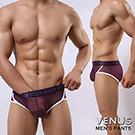 VENUS 腰間lOGO 彩色花邊 情趣網狀三角褲 紫
