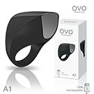 德國OVO A1 時尚男性 矽膠靜音時尚震動環 充電式 黑色