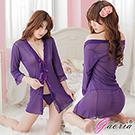 【Gaoria】多情寶貝 透明開襟誘惑睡袍性感睡衣 深紫
