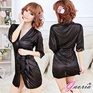 【Gaoria】熱戀情愫 誘惑睡衣睡裙 外罩衫 睡袍 黑色