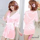 【Gaoria】熱戀情愫 誘惑睡衣睡裙 外罩衫 睡袍 粉紅
