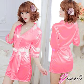 【Gaoria】熱戀情愫 誘惑睡衣睡裙 外罩衫 睡袍 玫紅