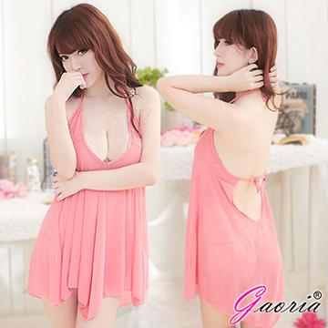 【Gaoria】深情迷媚 深V露乳裸背 誘惑睡衣睡裙 粉紅