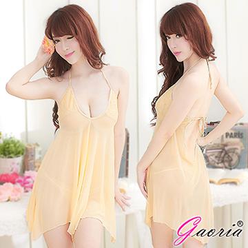 【Gaoria】深情迷媚 深V露乳裸背 誘惑睡衣睡裙 鵝黃