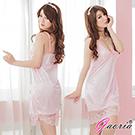 【Gaoria】魅惑無限 性感露乳絲綢情趣睡衣睡裙 粉