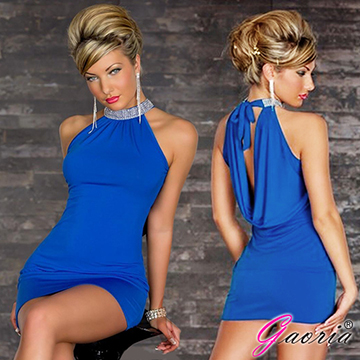 【Gaoria】俱樂部女郎 無袖露背 水鑽 夜店服裝 緊身包臀 情趣服裝