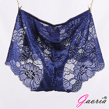 【Gaoria】性感蜜臀 蕾絲網紗 性感情趣三角內褲 深藍