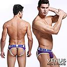 VENUS 英文字 U凸大囊袋冰絲 露屁屁後空 性感情趣三角褲 紫