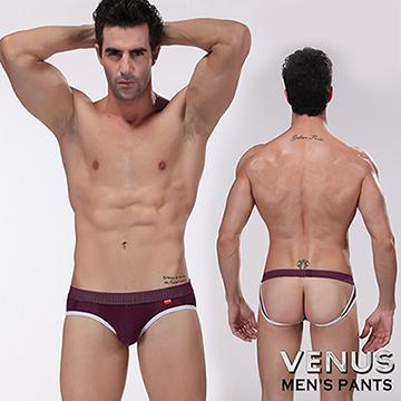 VENUS 雙丁字褲 露屁屁 U凸大囊袋呼吸透氣孔吸汗情趣 三角內褲 紫