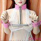 虐戀精品CICILY 金屬手頸固定 強制束縛 手銬+脖套 sm主奴調教情趣性用品
