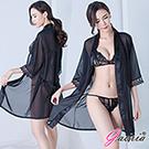 【Gaoria】 輕撫觸摸 三件套裝 蕾絲性感睡衣 黑