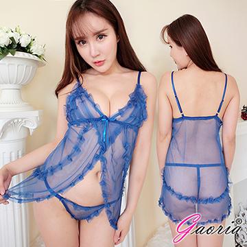 【Gaoria】性感心計 性感薄紗透視開襟 性感情趣睡衣 藍