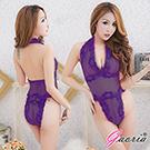 【Gaoria】心癢難耐 蕾絲 性感掛脖連體衣 性感情趣睡衣 紫