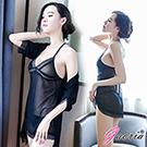 【Gaoria】誘惑升溫 蕾絲花邊薄紗三件式外罩衫 性感情趣睡衣