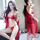 【Gaoria】惹火精靈 波希米亞風三點式浪漫蕾絲套裝 性感情趣睡衣 紅