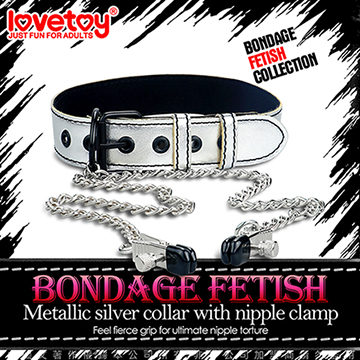 Lovetoy BONDAGE FETISH 虐戀系列-皮革頸套+乳夾