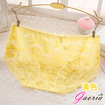 【Gaoria】悸動芳心 低腰蕾絲 性感內褲三角褲 黃