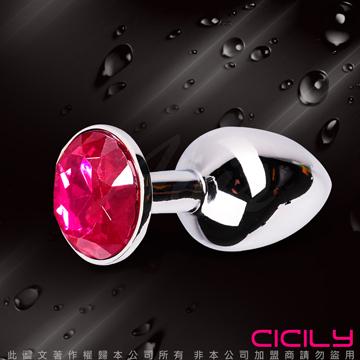 金屬壓克力鑽寶石肛塞 玫瑰紅