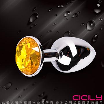金屬壓克力鑽寶石肛塞 金黃