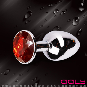 金屬壓克力鑽寶石肛塞 暗紅