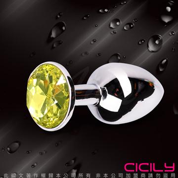 金屬壓克力鑽寶石肛塞 淺黃