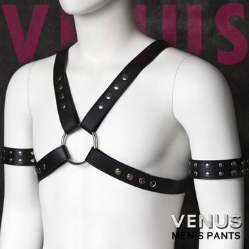Venus 男用裝飾臂帶+胸甲 捆綁捆束縛組