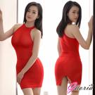 Gaoria 性感絲滑 透明後開叉緊身裙 半身裙 包裙 紅