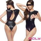 CICILY 黑色露胸漆皮 夜店表演 SM女王服裝 不含眼罩