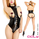 CICILY 黑色漆皮繫繩 露胸 夜店表演 SM女王服裝 不含乳貼