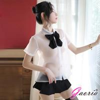 【Gaoria】奔放妹妹 學生角色扮演服 透視襯衫短裙