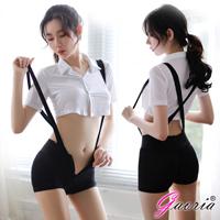 【Gaoria】性感可愛學生裝背帶褲 制服誘惑激情套裝 情趣睡衣
