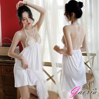 【Gaoria】回憶芝加哥 繡花透視網紗性感睡裙 情趣睡衣-白