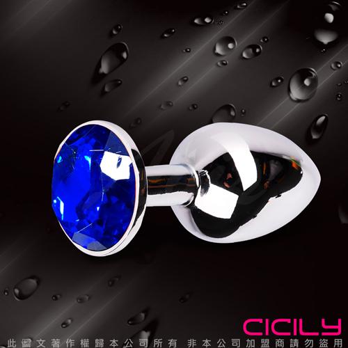 金屬壓克力鑽寶石肛塞 深藍