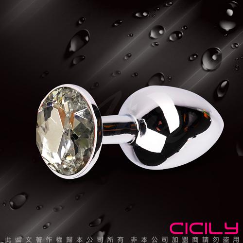 金屬壓克力鑽寶石肛塞 銀白
