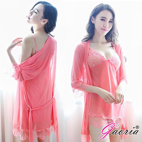 【Gaoria】熱情如火 深V薄紗三件式外罩衫 性感情趣睡衣 粉