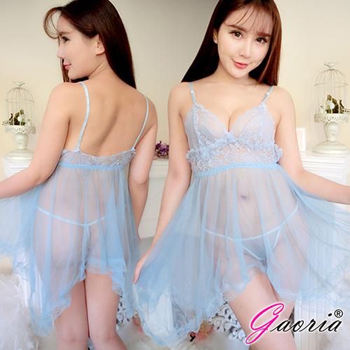 【Gaoria】情話綿綿 蕾絲柔紗 性感情趣睡衣 淺藍