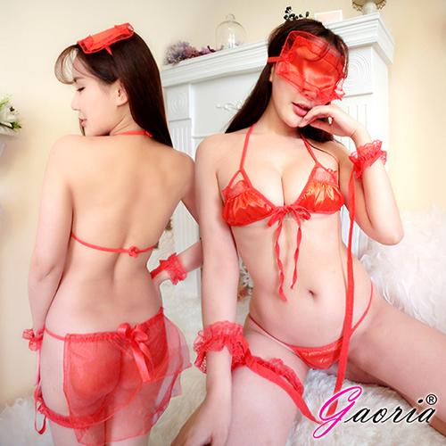 【Gaoria】閨房遊戲 三點式 多件套遊戲 性感情趣睡衣 紅