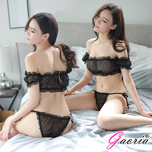 【Gaoria】 唯美精靈 一字肩泡泡袖兩截式薄紗睡衣 黑