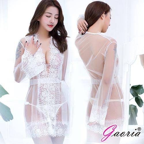 【Gaoria】 品嚐禁果 三件套裝 三點開襟 蕾絲性感睡衣 白
