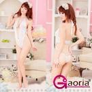 【Gaoria】純愛天使 性感誘惑彈力白色連體緊身 情趣睡衣