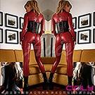 虐戀精品CICILY 魔形女 塗膠仿皮性感彈力連體緊身衣-紅